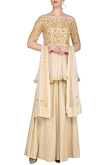Beige Embroidered Sharara Set by Neha Chopra