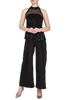 Black Embroidered Halter Blouse With Jumpsuit by Neha Chopra