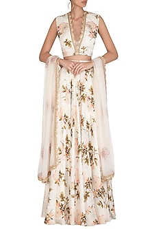 Cream Embroidered Printed Lehenga Set by Neha Chopra