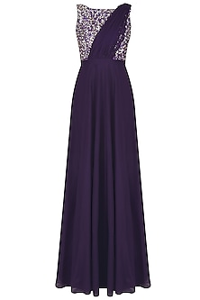 Midnight Purple Pearls And Sequins Embellished Gown With An Attached Drape by Neha Chopra