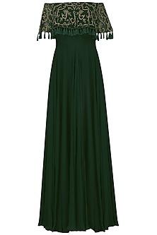 Emerald Green Off-Shoulder Gown by Neha Chopra