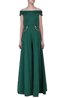 Emerald Green Off-Shoulder Jumpsuit by Neha Chopra