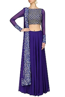 Royal Blue Sequins Embroidered Lehenga Set by Neha Chopra