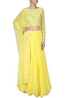 Lemon Yellow Sequins Embroidered Lehenga Set by Neha Chopra