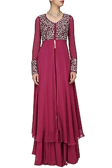 Magenta Pink Sequins Embroidered Jacket and Lehenga Set by Neha Chopra