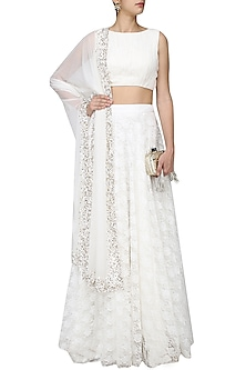 White Rouched Blouse and Lace Panelled Lehenga Skirt Set by Neha Chopra