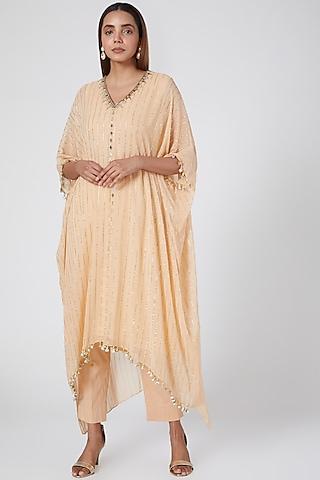Peach Embroidered Kaftan With Pants by Nidhika Shekhar