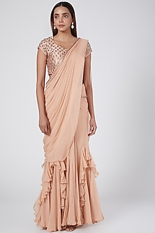 Blush Pink Draped Saree With Embroidered Blouse by Nidhika Shekhar