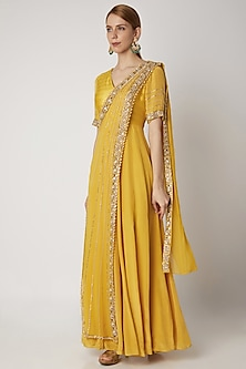 Yellow Embroidered Draped Anarkali by Nidhika Shekhar