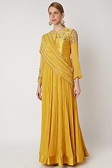 Yellow Embroidered Anarkali With Drape by Nidhika Shekhar