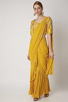 Yellow Embroidered Pre-Stitched Saree Set by Nidhika Shekhar