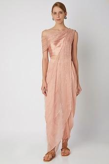 Blush Pink Embroidered Dhoti Set by Nidhika Shekhar
