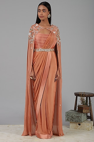 Coral Embroidered Saree Gown by Nidhika Shekhar