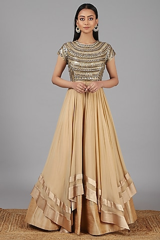 Beige Hand Embroidered Gown by Nidhika Shekhar