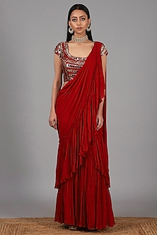 Red Embroidered Pre Stitched Saree Set by Nidhika Shekhar