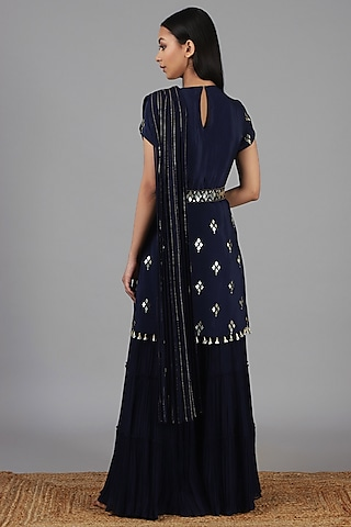 Navy Blue Embroidered Sharara Set by Nidhika Shekhar
