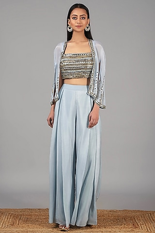 Dusky Aqua Embellished Cape Set by Nidhika Shekhar