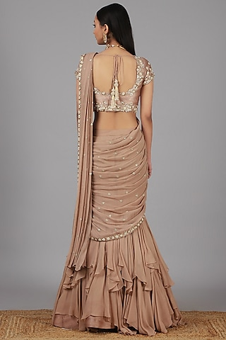 Beige Embroidered Lehenga Saree Set by Nidhika Shekhar