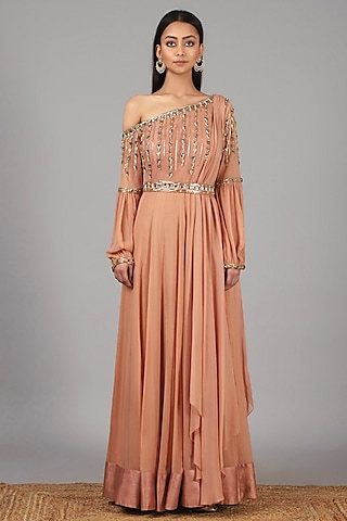 Peach Embroidered Anarkali With Belt by Nidhika Shekhar