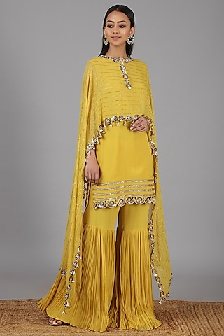 Yellow Embroidered Sharara Set by Nidhika Shekhar