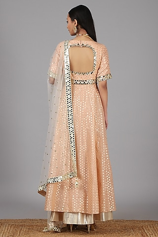 Peach Embellished Anarkali With Dupatta by Nidhika Shekhar