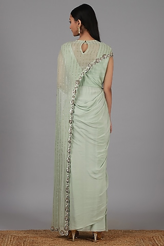 Muted Green Embroidered Saree Gown Set by Nidhika Shekhar