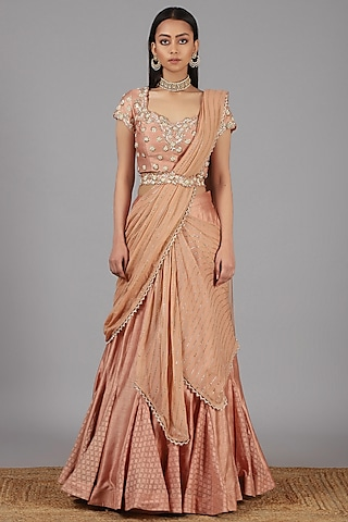 Peach Embroidered Lehenga Set by Nidhika Shekhar