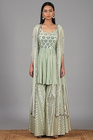 Muted Green Embroidered Sharara Set by Nidhika Shekhar