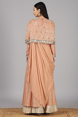 Peach Embroidered Anarkali Set by Nidhika Shekhar