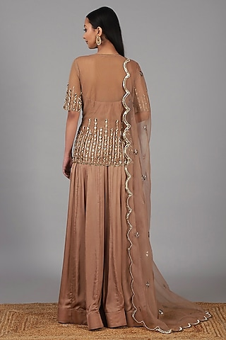 Deep Nude Embroidered Sharara Set by Nidhika Shekhar