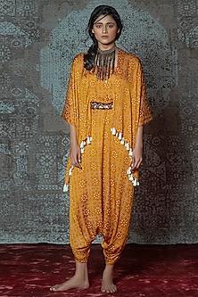 Mustard & Off White Printed Draped Jumpsuit With Belt by Nidhika Shekhar