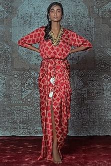 Red & Off White Printed Draped Dress by Nidhika Shekhar