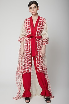 Red Jumpsuit With Printed Cape & Belt by Nidhika Shekhar