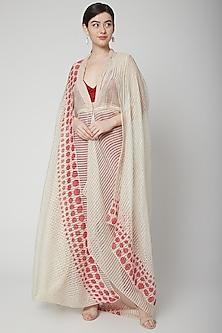 Beige Printed Dress With Crop Top & Pants by Nidhika Shekhar