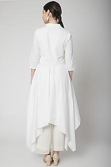 White Draped Kurta With Pants by Nidhika Shekhar