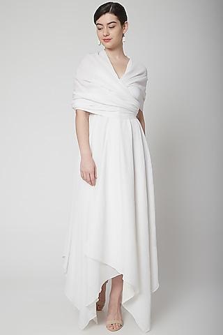 White Asymmetric Wrap Dress by Nidhika Shekhar