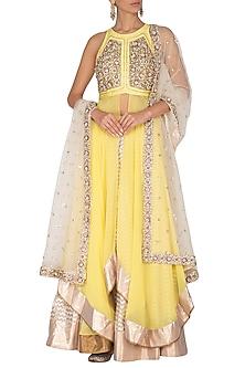 Yellow Embroidered Lehenga Set by Nidhika Shekhar