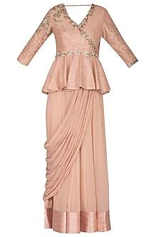 Blush Pink Embroidered Peplum Saree Gown by Nidhika Shekhar
