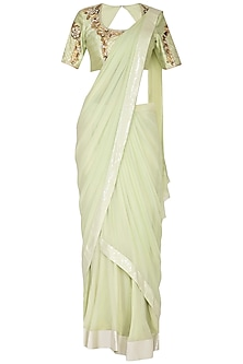 Mint Green Embroidered Saree Set by Nidhika Shekhar