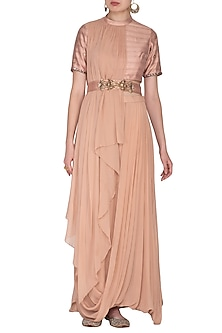 Blush Pink Skirt Set With Embroidered Belt by Nidhika Shekhar