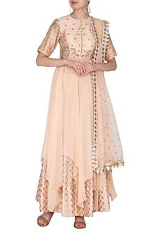 Blush Pink Embroidered Lehenga Set by Nidhika Shekhar
