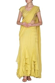Yellow Embroidered Pre-Draped Saree Set by Nidhika Shekhar