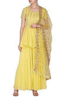 Yellow Embroidered Sharara Set by Nidhika Shekhar