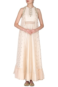 White Embroidered Cape Gown by Nidhika Shekhar