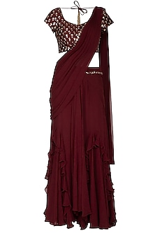 Maroon Embroidered Pre-Draped Saree Set by Nidhika Shekhar
