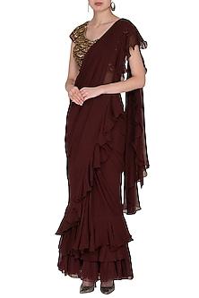 Maroon Embroidered Saree Set by Nidhika Shekhar