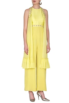 Yellow Embroidered Cape Jumpsuit by Nidhika Shekhar