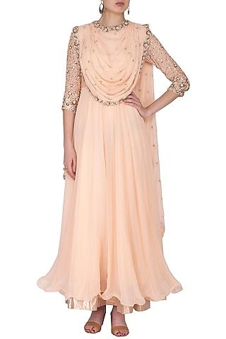 Blush Pink Embroidered Anarkali Set by Nidhika Shekhar