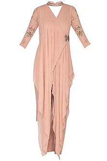 Blush Pink Embroidered & Pleated Kurta Set by Nidhika Shekhar