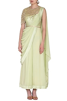 Mint Green Embroidered Saree Gown With Drape & Belt by Nidhika Shekhar